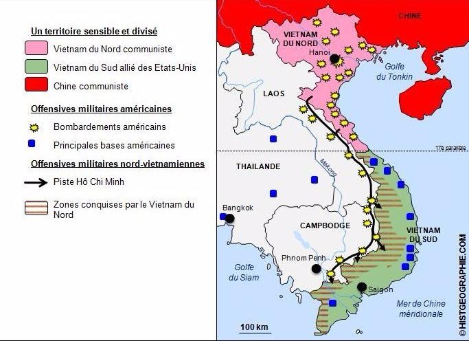 guerre du vietnam carte La guerre du Vietnam (1955 1975) | laclassehgnumerique